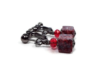 Red Gray Cube Clip on Earrings Dark Marbled Screw Back Drop Modern Womens
