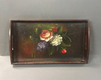 Mid Century Hand Painted Wooden Tray Floral Tray