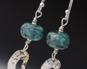 Turquoise Green Purple Cool Colors Organic Lampwork Glass Beaded Sterling Silver Earrings