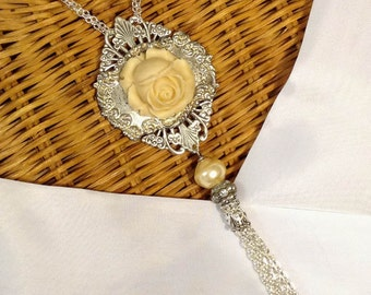 Cameo Jewelry ~ Pendant Necklace ~ Tassel Necklace ~ Vintage Resin Rose ~ Statement Jewelry ~ Assemblage Necklace ~ Upcycled ~ FREE SHIPPING
