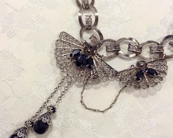 Assemblage Necklace ~ Black Necklace ~ Vintage Silver Filigree ~ Statement Necklace ~ Tassel Necklace ~  Upcycled Jewelry ~ FREE SHIPPING