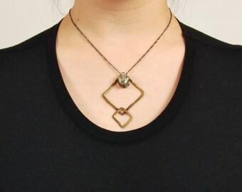 Women's Boho Silver Brass Gold Large Pendant Necklace, Tribal Green Amethyst Stone Statement Necklace, Bohemian Geometric Rhombus Pendant