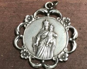 """Vintage Holy Mary Silver Religious Medal Pendant Jewelry on 18"""" sterling silver rolo chain"""