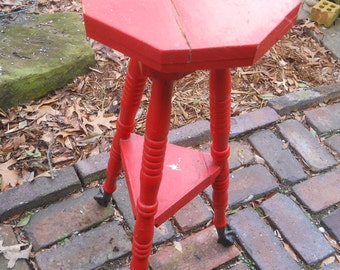 REDUCED-Vintage Country Red 3 Legged Candle Stand-Plant Stand-Wood Table-Octagon Top-Cast Iron Talon Style Claw and Ball Feet