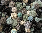 Resin Flower Cabochons : 10 Gorgeous Shades of Grey Blooming Baubles -- (Sizes from 7mm to 30mm)