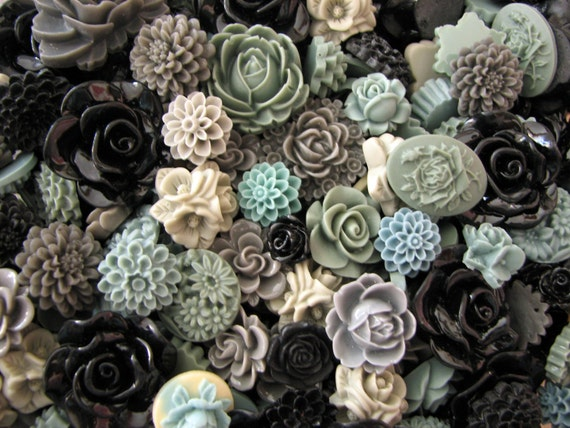 Resin Flower Cabochons : 25 Gorgeous Shades of Grey Blooming Baubles -- (Sizes from 7mm to 30mm)