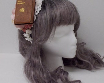 Miniature Book Headband: Pink and Ivory