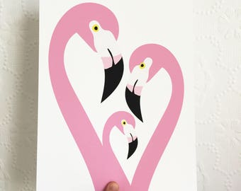 Pink Bird Flamingo Print | A4 Giclee Print | Bird Art | Wall Art | Home Decor | Pretty Art |
