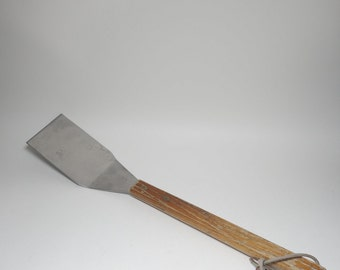 Vintage Large Wood Handled BBQ Spatula, Large Stainless Steel Spatula, Large Stainless Flipper, Large Stainless Turner, Large Grilling Tool