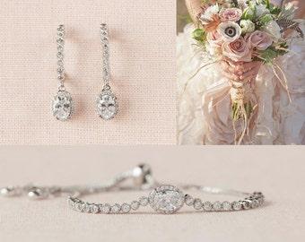 Crystal Bridal Earrings, Wedding Earrings, Rose Gold, Gold, Bridal Bracelet, Oval crystal, Bridal jewelry SET, Cora Bridal SET