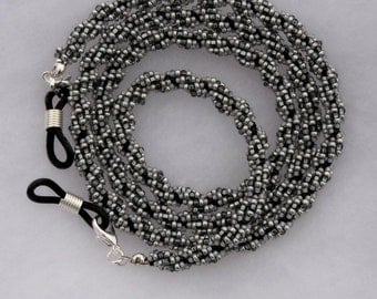29 Inch Seed Bead Eyeglass Holder - Gray & Black Beaded Rope Sunglass Leash - Handmade Unique - Woven Eyewear - Under 30 Dollars