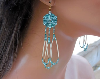 4 Inch Long Circular Porcupine Quill Earrings - Teal Blue and Aqua Earrings - Seed Bead Fringe Earrings - Apatite with Gold Beaded Earrings