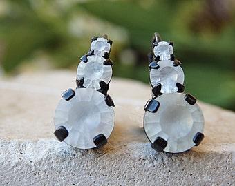 White black earrings, Trendy earrings, Matte stone earrings, Bridal leverback earrings, Black and white, White matte earring, Prom earrings