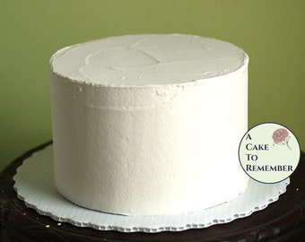 """6"""" round fake cake with flat icing for photo shoots and home staging. Faux cake wedding cake cupcake display, food prop. Engagement prop."""