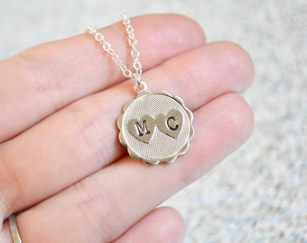 Personalized Heart Necklace - Valentine's Day Necklace - Double Initial -  Personalized Jewelry - Heart Jewelry - Double Heart Necklace
