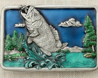 Fish Belt Buckle Translucent Enamel Bass Pewter Toned Nature Scene Blue Green Bergamot Brass Works 1984 Made In USA Vintage Belt Buckle 16b