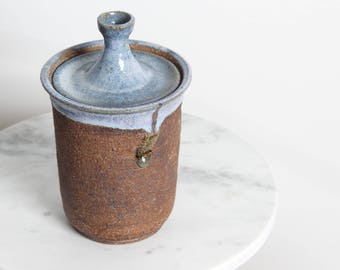 Hand Made Pottery Canister with  Lid Jar Stoneware Pottery Wheel Thrown