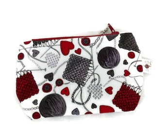 Mini Flannel Needles and Yarn Stitch Marker Coin Zipper Storage Pouch S294