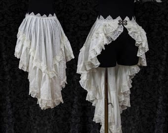Bustle skirt broderie anglais, ivory romantic skirt, cottage chic, victorian, Somnia Romantica, size M-L  see item details for measurements