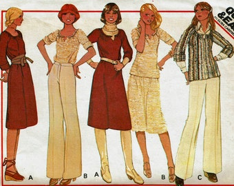 70s Quick & Easy Dress or Top and Skirt for Stretch knits Size Medium 14-16 Bust 36 38 Uncut Sewing Pattern McCalls 5702