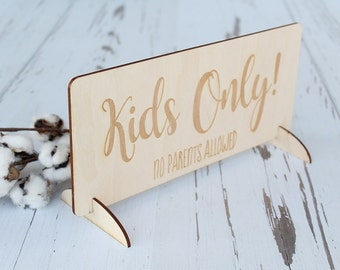 Kids Only Sign Rustic Wedding Table Wedding Seating Kids Table Sign