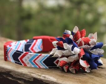 Americana Dog Collar, Patriotic Dog Collar, Dog Collar with Bow, Dog Collar Bow, Dog Collar, Red Dog Collar, Blue Dog Collar