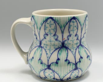 Handmade Wheel Thrown Ceramic Mug with Heather Blue, Jade and Turquoise Pattern