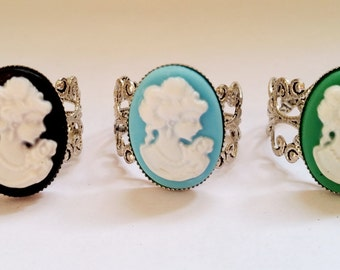 Gothic Vintage steampunk silver Victorian lady cabochon adjustable filigree ring Israel Hand made