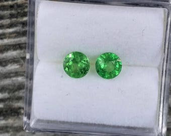 Tsavorite Garnet 4.5 MM Matching Pair for Earrings January Birthstone