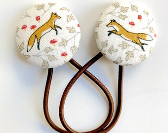 Foxy!! Gorgeous Covered Button Hair Ties - set of two Ponytail holders - Foxes and Toadstools