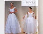 1990s Wedding or Evening Dress Pattern, Simplicity 8834, Womens Formal Ball Gown Prom Dress Sewing Pattern, Evening Stole, Size 12-18, UNCUT