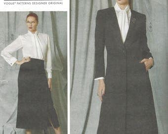 Paco Peralta Womens Ankle Length Jacket, Tie Blouse & Ankle Length Skirt Vogue Sewing Pattern V1527 Size 10 12 14 16 18 Bust 32 1/2 to 40 FF