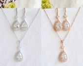 Bridal Jewelry SET, Rose Gold Wedding Necklace Set, Crystal Bridal Earrings, Teardrop Dangle Earrings, Princess Cut Wedding Earrings, HOLLIE