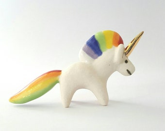 Porcelain Rainbow Unicorn with Gold Luster Miniature Figurine