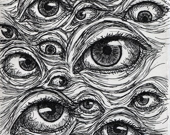 Wall of Eyes - Original Pen and Ink Creepy Eyeball Postcard Drawing OOAK by Amanda Lanford