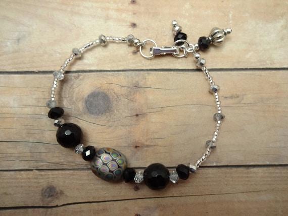 Black Onyx Bracelet, Black and White Bracelet, Black and Silver Bracelet, Black and Silver Jewelry, Vitrail Bracelet