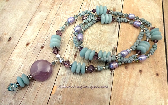 Amethyst, Amazonite, Freshwater Pearl and Swarovski Necklace