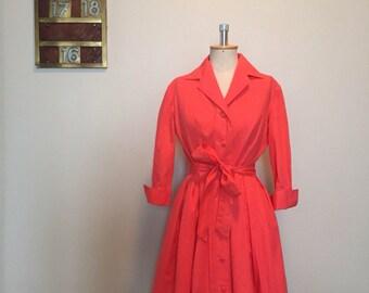 Vintage 50s coral pink shirtwaist dress