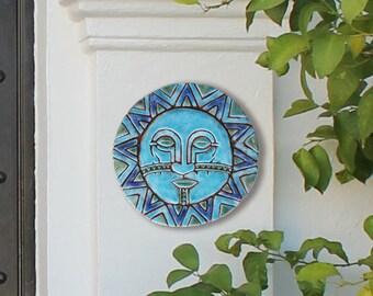 Sun And Moon Ceramic Wall Art, Garden Decor With Sun And Moon Design,  Outdoor