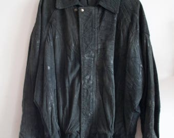 80s Leather Jacket Crushed Texture Patchwork Bomber Jacket L