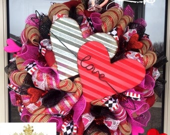 Black and Red Love Valentines Wreath