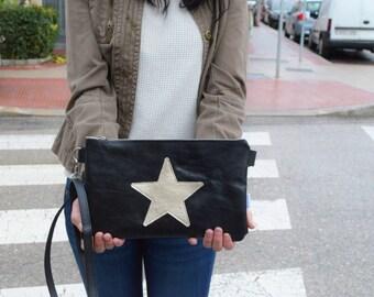 Star purse bag,leather handbag,black leather purse,leather black handbag,stars leather,stars purse bag,crossbody bag,steampunk,silver star
