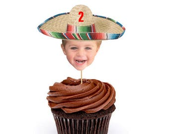 Mexican Sombrero Cupcake Toppers, Mexican Sombrero Cake Toppers, Mexican Fiesta, Fiesta Cake Toppers, Mexican Party, Food Picks