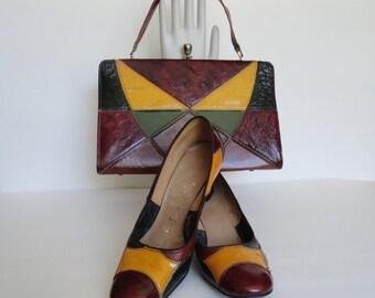 1960 Vintage Shoes and Handbag Set|Fashion Craft Color Block Shoes and Purse Set|Amber Brown Patchwork Shoes and Purse Set