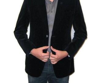 80s Velvet Sports Coat Blue Black Sports Jacket Mens 42 1980s Velvet Blazer  Cotton Velvet Jacket Single Breasted Jacket Mens Velvet Jacket