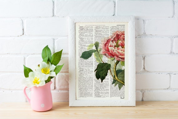 Summer Sale Peony Flower book print - Book print page - Upcycled book page wall art book print BFL122