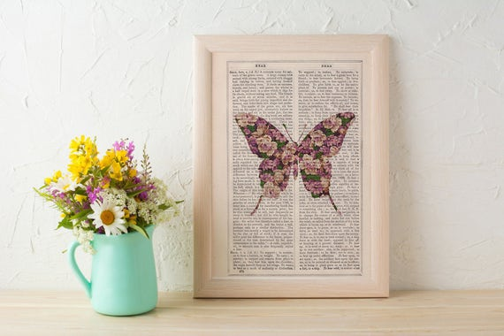 Art print Butterfly silhouette, butterfly flowers pattern art collage print. Floral wall art print Springtime wall art ANI249