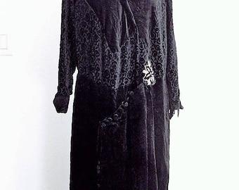 Vintage 1920's Silk Black Velvet Dress