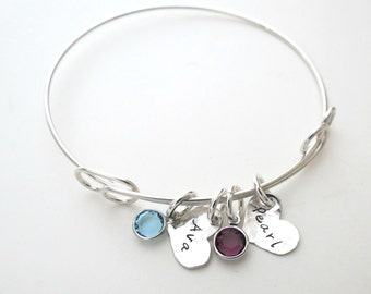 Personalized Heart Bracelet with Birthstones - Personalized Bangle - Personalized Jewelry - Mothers Bracelet - Kids Name - Engraved - Stamp