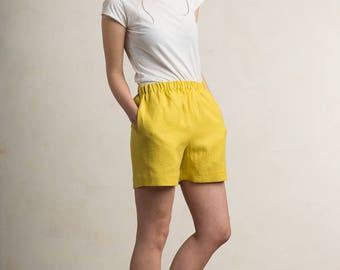 Mustard linen shorts, Linen women's shorts, Yellow - green shorts, LHI linen women's clothing